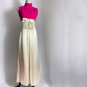 1960s pink and cream party maxi dress with bow detail